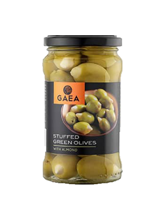 Green olives with almonds in brine, GAEA, 315 ml.