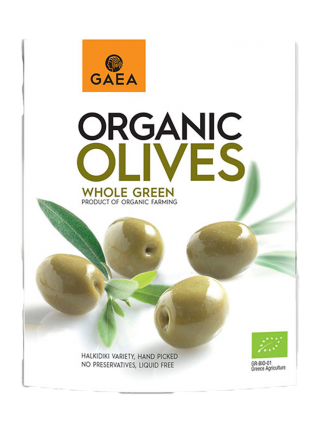 Цели зелени маслини органик, GAEA, 150 гр.